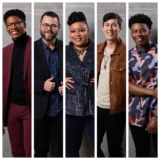 """""""The Voice"""" Season 18 Final Five: (From left to right) Thunderstorm Artis, Todd Tilghman, Toneisha Harris, Micah Iverson and CammWess."""