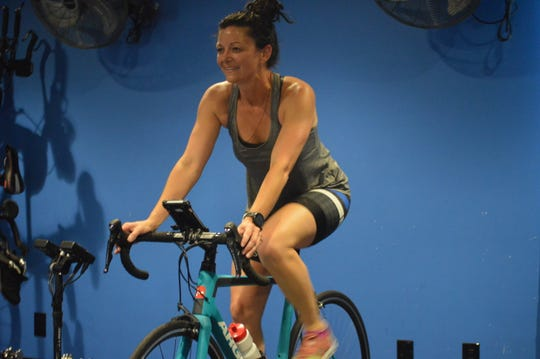 Chastity Bernard participates in a cardio bicycle workout at FiXX Cycling in Alexandria Tuesday. FiXX Cycling reopened its doors May 15 once Louisiana Gov. John Bel Edwards said the state would enter Phase 1 in the recovery of the COVID-19 pandemic.