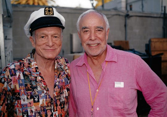 "Richard ""Dick"" Rosenzweig, right, with Hugh Hefner backstage at the Playboy jazz Festival at the Hollywood Bowl in June 2006."