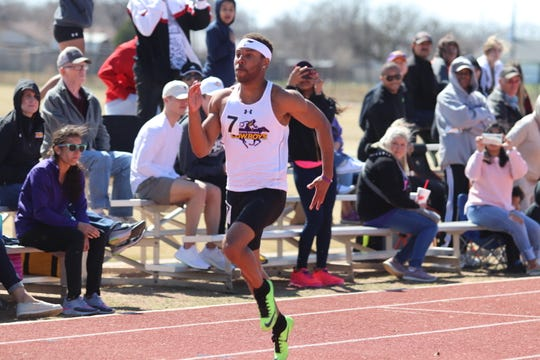 Hardin-Simmons' Damonn Harrison runs during the 2020.Cowboys Invitational hosted by HSU. Harrison was named an All-American in the 60-meter and 200-meter dashes by the USTFCCCA.