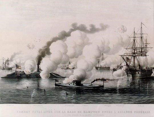 An engraving of the Monitor's battle with the Virginia (Merrimack).