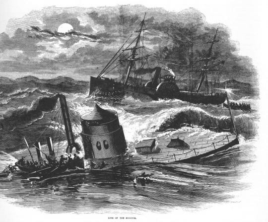 An engraving of the Monitor as it sank in 1863.