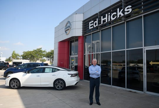 Charlie Hicks, owner of Ed Hicks dealerships, stands outside the dealership on Wednesday, May 20, 2020, in Corpus Christi.