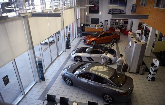 A view of the sales room of Ed Hicks Nissan on Wednesday, May 20, 2020, in Corpus Christi. The dealership is among several locally that have adapted to serve customers because of coronavirus.
