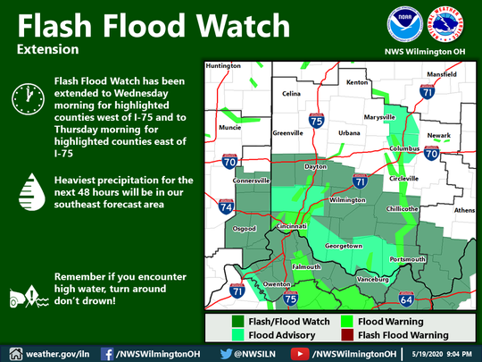 Flash flood map of the Southern Ohio area from the National Weather Service in Wilmington on March 19., 2020.