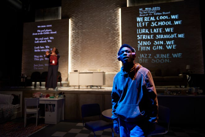 """Jay Wade, right, and Sharrell D. Luckett (back, left) starred in Ensemble Theatre Cincinnati's production of Dominique Morisseau's award-winning play """"Pipeline."""" It opened on March 11. It closed the following day when Ohio Gov. Mike DeWine banned gatherings of more than 100 people."""