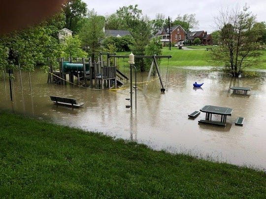 Here's what the playground at Glendale's Lake Park looked like for hours on Tuesday.