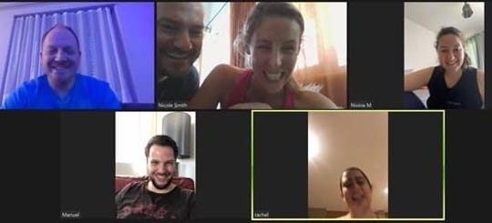 Rachel Belmont chats with friends on Zoom during her 100-mile run