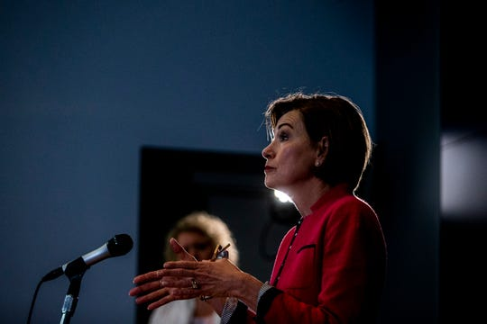 Iowa Governor Kim Reynolds speaks to the press during the daily COVID-19 news conference on Wednesday, May 20, 2020, at the State Emergency Operations Center in Johnston, Iowa.