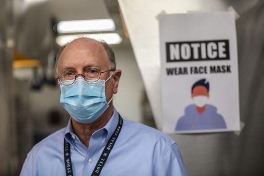 Kevin Bayless, the director of housekeeping at Royal Park Hotel, along with the staff, has worked non-stop to make changes in response to the coronavirus, including wearing masks, after closing for two months. Photographed on May 19, 2020, the Royal Park Hotel in Rochester, Mich. reopened to guests on May 18.