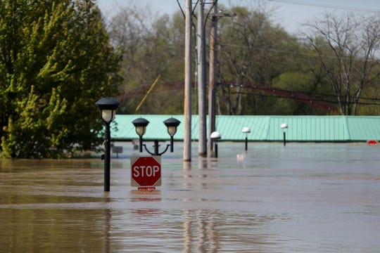 Downtown Midland, Mich. is under 9-10 feet of water after the Edenville and Sanford dams failed flooding the area, photographed on Wednesday, May 20, 2020.