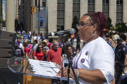 Pamela Owens-Moore, a janitor in Detroit for 33 years and an executive board member of SEIU Local 1, delivers remarks in June, 2018 during the launch of a campaign for a $15 hourly wage.