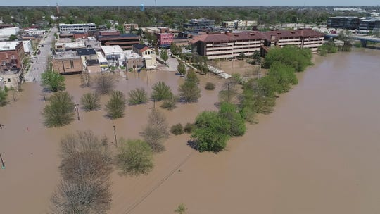 Downtown Midland, Mich., is flooded May 20.