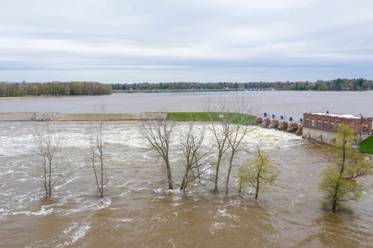 A view of the flooded area near the Sanford Dam on Tuesday, May 19, 2020. Residents were told to evacuate due to the dams on Sanford and Wixom Lakes no longer being able to control or contain the amount of water flowing through the spill gates.