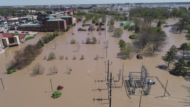 Aerial photo of flooding in downtown Midland, Mich., Wednesday, May 20, 2020.