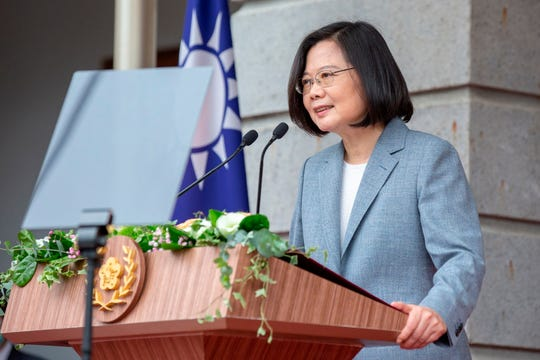 In this photo released by the Taiwan Presidential Office, Taiwanese President Tsai Ing-wen, delivers a speech after her inauguration ceremony at a government guest house in Taipei, Taiwan on Wednesday, May 20, 2020.