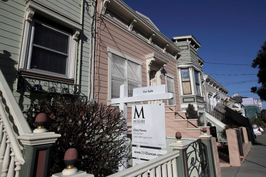 This Feb. 18, 2020, photo shows a real estate sign in front of a home for sale in San Francisco.