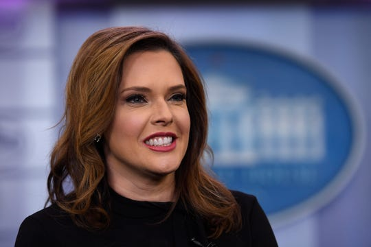 In this Jan. 29, 2019, file photo, Mercedes Schlapp speaks during a television interview in the press briefing room at the White House in Washington.