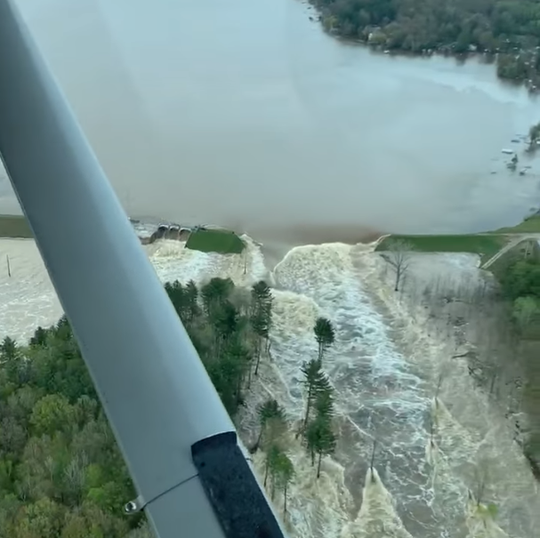 A screenshot of a video posted on Facebook by Ryan Kaleto shows flooding caused by a breach at the Edenville Dam in Midland County.