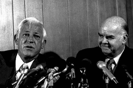 Tigers general manager Jim Campbell and new manager Sparky Anderson in 1979.
