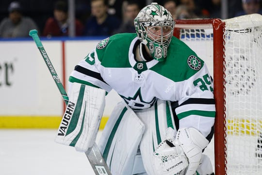 Anton Khudobin has posted a 2.42 goals-against average and .926 save percentage during his two seasons with the Dallas Stars.