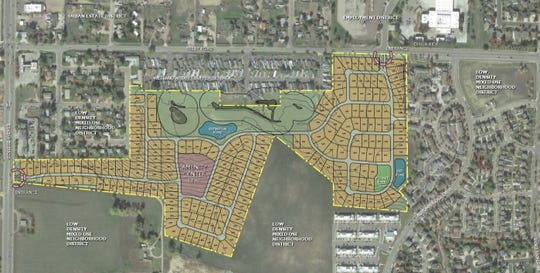 A preliminary sketch of how spaces might be laid out at a proposed mobile home park in south Fort Collins.