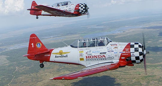 Aeroshell Aerobatic Team planes from the World War II era will fly over Fort Myers on July Fourth in 2020.