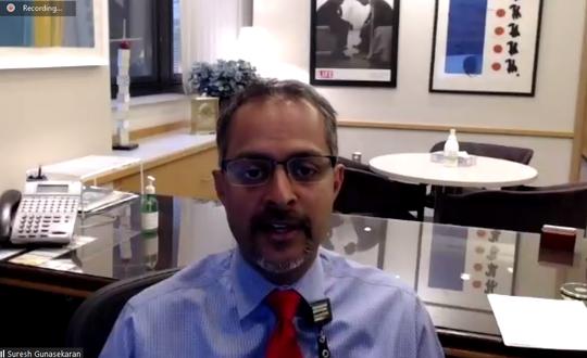 Suresh Gunasekaran, CEO of University of Iowa Hospitals & Clinics, speaks with reporters over Zoom on May 20, 2020.