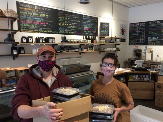 Chef Justin Paterson, of Hazelnut Kitchen, and Lauren McKinzey, of Trumansburg Main Street Market, are working to find mutually beneficial ways to make their businesses survive during COVID-19.