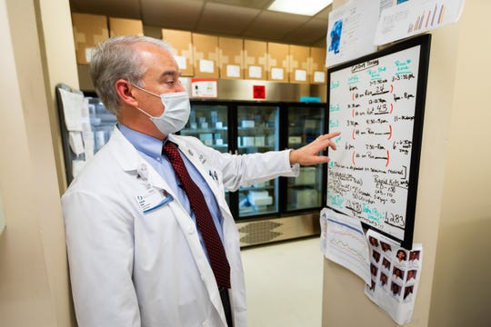 Dr. Patrick Kyle, a toxicologist and associate professor of pathology, checks the board displaying the lab's testing schedule and the daily tally of total number of tests performed at the University of Mississippi Medical Center.