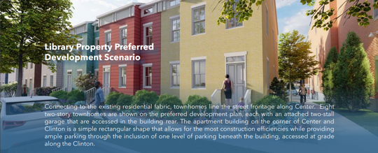 A conceptual rendering shows townhomes lining Center Street on a block in downtown Howell city officials are marketing to developers.