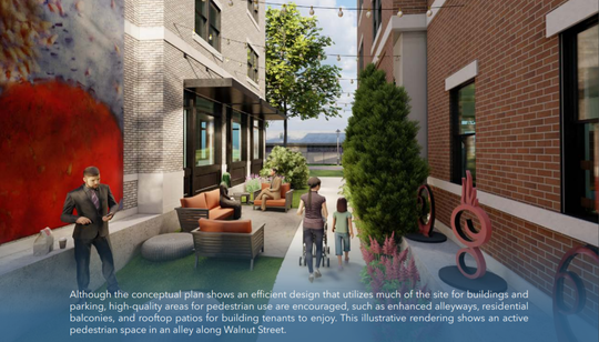 A conceptual rendering shows the type of buildings Howell city officials would like to see built on a 1.6-acre block the city is marketing for redevelopment.