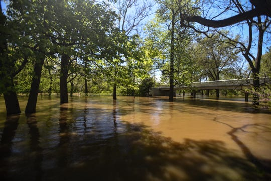 Flooding seen on the campus of Michigan State University, Wednesday, May 20, 2020.