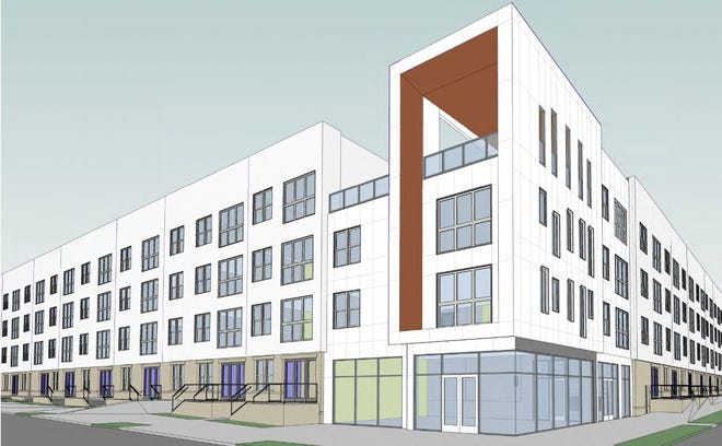A rendering shows the proposed 127-unit apartment building planned near the Memphis Fairgrounds.