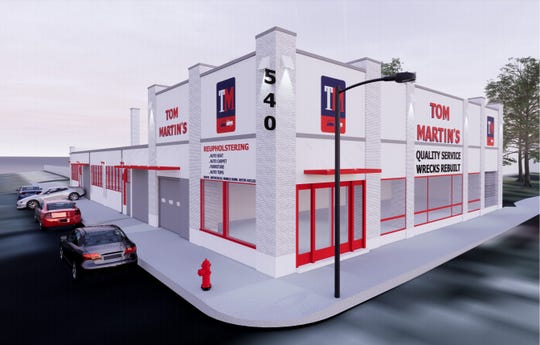 Tom Martin's auto shop has plans for an $81,000 renovation that will add new paint and repair its sidewalks and gutters.