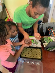 Milwaukee mom, Jolie Brox, helps her daughters start seeds for their garden. The Brox family has been doing a lot of gardening and yardwork during the coronavirus pandemic.