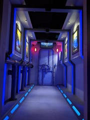 """A view of one part of the """"Casino"""" escape challenge at 60 to Escape at Southridge Mall, where players attempt to gain access to the """"DSV-Deep Submergence Vehicle"""" and make their way down to an underwater casino called """"Poseidon's Treasure"""" to rob the vault of its gold."""