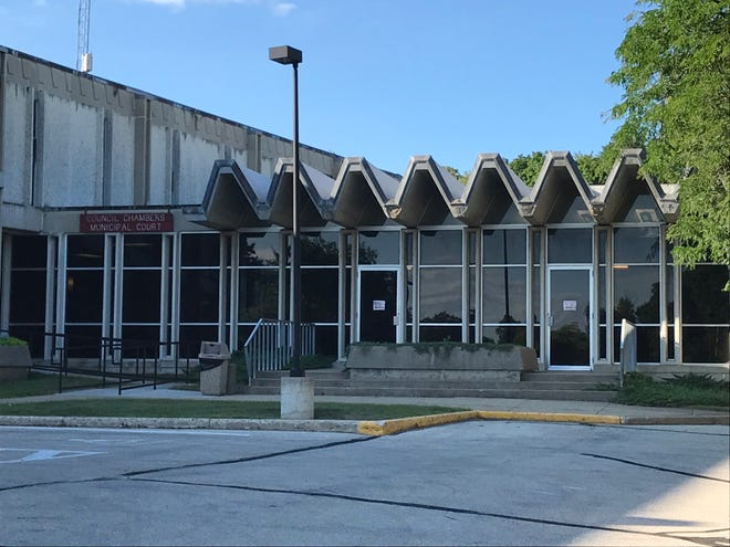 The council chambers entrance to Waukesha City Hall as it stood in 2018, one year before construction began on a new municipal center. Common council meetings havee been held virtually since March after the COVID-19 pandemic began, and the old council chambers has already been demolished to make way for the new building.