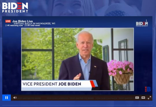 Presidential hopeful Joe Biden addresses listeners on May 20, during a virtual Milwaukee rally.