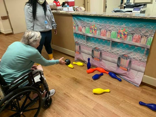 Bowling is also an activity residents have participated in to stay active while visitation is limited.