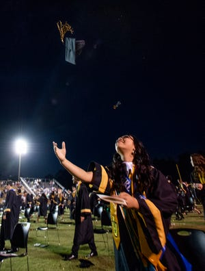 Wetumpka High School's graduation ceremony is held at Hohenberg Field in Wetumpka, Ala., on Tuesday evening May 19, 2020.