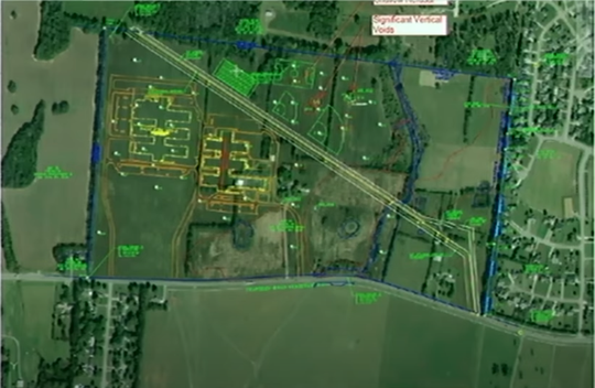 This rendering shows in yellow a potential footprint for a middle school and elementary school that could be built on 83 usable acres on the north side of Franklin Road about a mile west of Veterans Parkway. The Rutherford County Board of Education is considering options on either declining or negotiating to buy all or part of the 154-acre property from the Murfreesboro City Council.