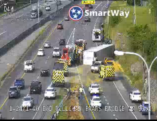 A spill from an overturned truck has closed the on-ramp at the I-24/I-40 split near downtown Nashville Wednesday, May 20, 2020