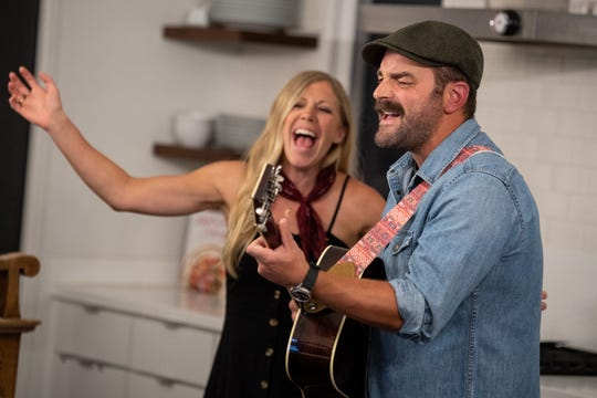 Drew and Ellie Holcomb record a song for their Kitchen Covers series in the kitchen of their home in Nashville, Tenn., Tuesday, May 19, 2020.