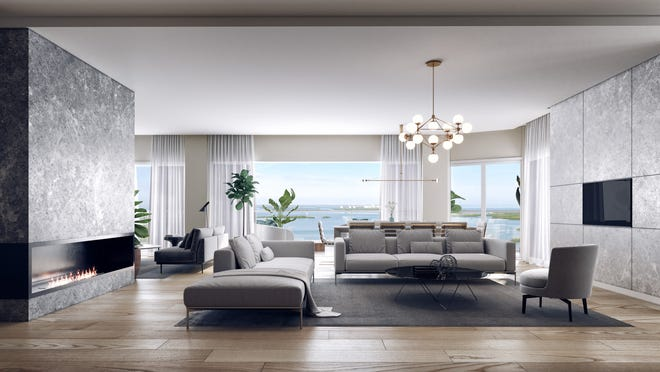 "One penthouse residence featuring a six-car ""tandem"" garage remains available at Omega, a new 27-floor high-rise tower to be built by the Ronto Group within Bonita Bay."