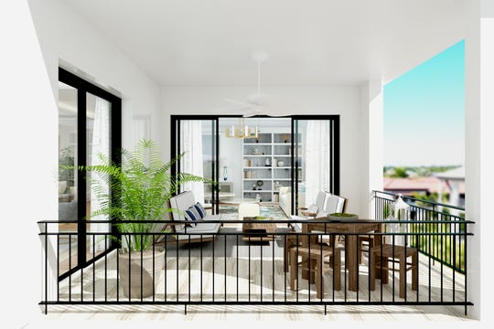 The Giada floor plan at Quattro features a spacious outdoor balcony accessible from three rooms.