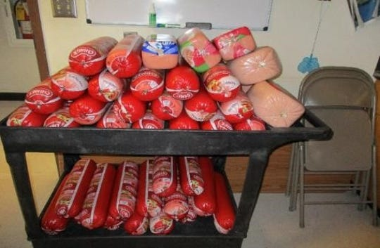 U.S. Customs officers confiscated 49 rolls of Mexican bologna and nine additional rolls of cold cuts processed in Mexico.