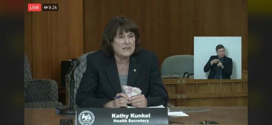 New Mexico Department of Health Secretary Kathy Kunkel speaks during a virtual news conference from the state Capitol building in Santa Fe on Wednesday, May 20, 2020.