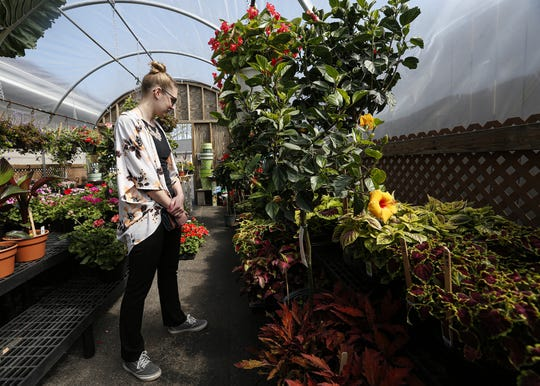 Amy Goetz, of Appleton, shops Wednesday at House of Flowers in Oshkosh.
