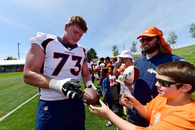Packers lineman John Leglue entered the NFL with the Broncos in 2019.
